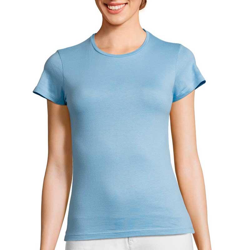 голубая женская футболка для вышивки или печати логотипа